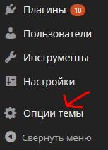 Пункт меню опции темы