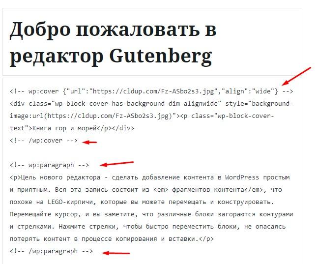 Редактор кода Gutenberg